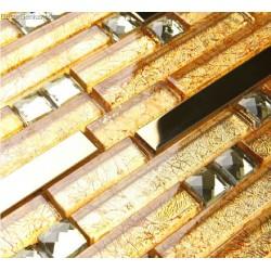 Gold Metal Mosaic Wall Aluminum Tiles for Sink Kitchen Backsplash DGMM003