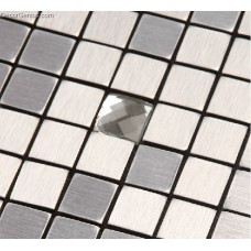 Silver Aluminum Metal Mosaic Tiles 13 Faced Glass Chip Mixed Home Improvement Materials