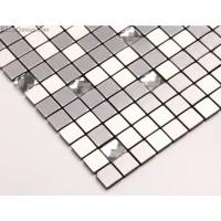 Silver Aluminum Metal Mosaic Tiles 13 Faced Glass Chip Mixed Home Improvement Materials