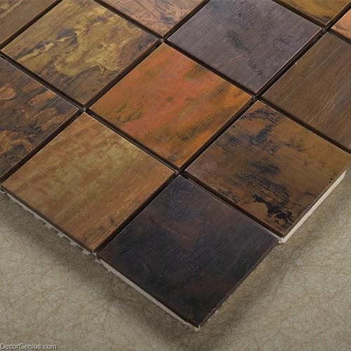 Decorative Metal Wall Panel Wall Art Tile Wooden Like Faded Natural Metallic Backsplash Mosaic Tiles