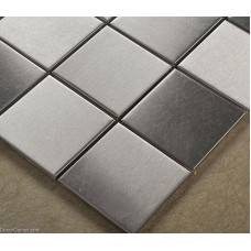 Stainless Steel Sheet Silver Water Proof Metal Wall Backsplash Tiles Home Decor DGMM008