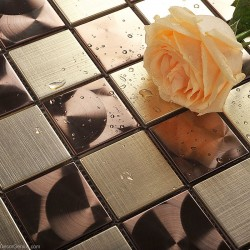 Metal Stainless Steel Wall Tile Bathroom Copper Mosaic Tiles DGMM009