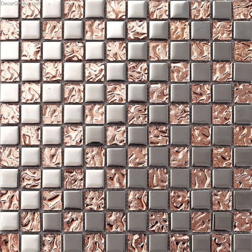 Pink Home 3D Floor Tile Mosaic DGMM012 Metal Kitchen Mirror Wall Tiles
