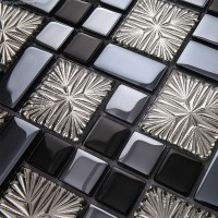 Galvanized 3D Glass Discount Backsplash Kitchen Mosaic Tile