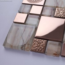 China Cheap Tile Metal Mosaic Floor Galvanized Metal Aluminum Plate Mosaic Tiles