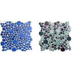 Navy Blue Natural Stone Pebble Shower Floor Tile