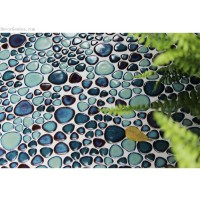 Discount Dark Blue Floor Pebble Tile Free Shipping