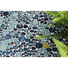 Discount Dark Blue Floor Pebble Tile Free Shipping