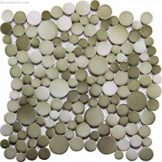 Fade Green Blend Light Grey Kitchen Pebble Tile
