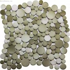 Fade Green Blend Light Grey Kitchen Pebble Tile
