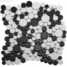 Classic Black and White 3D Pebble Stone Mosaic Tile