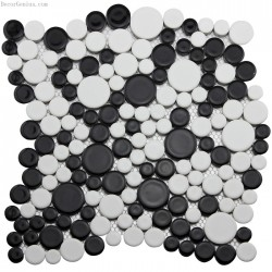 Classic Black and White 3D Pebble Stone Mosaic Tile