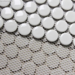 Pure White Round Natural Pebble Stone Mosaic Tile