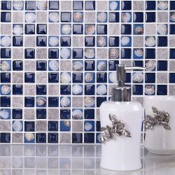 3D Shell Crystal Shell Kitchen Wall Tile Backsplash Mosaic Glass Navy Tiles