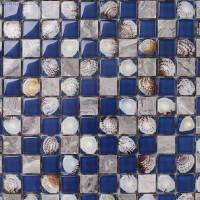 3D Shell Crystal Shell Kitchen Wall Tile Backsplash Mosaic Glass Navy Tiles