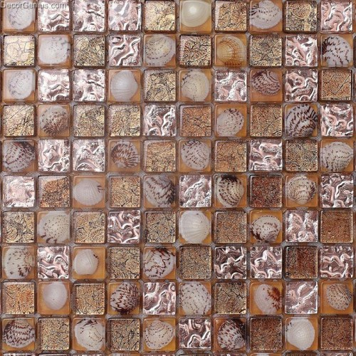 Brown 3D Shell Resin Mosaic Tile DGSM005 Bathroom Floor Tiles Pearl Walltile