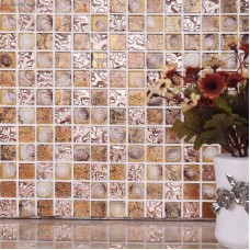 Brown 3D Shell Resin Mosaic Tile DGSM005 Bathroom Floor Tiles Pearl Walltile