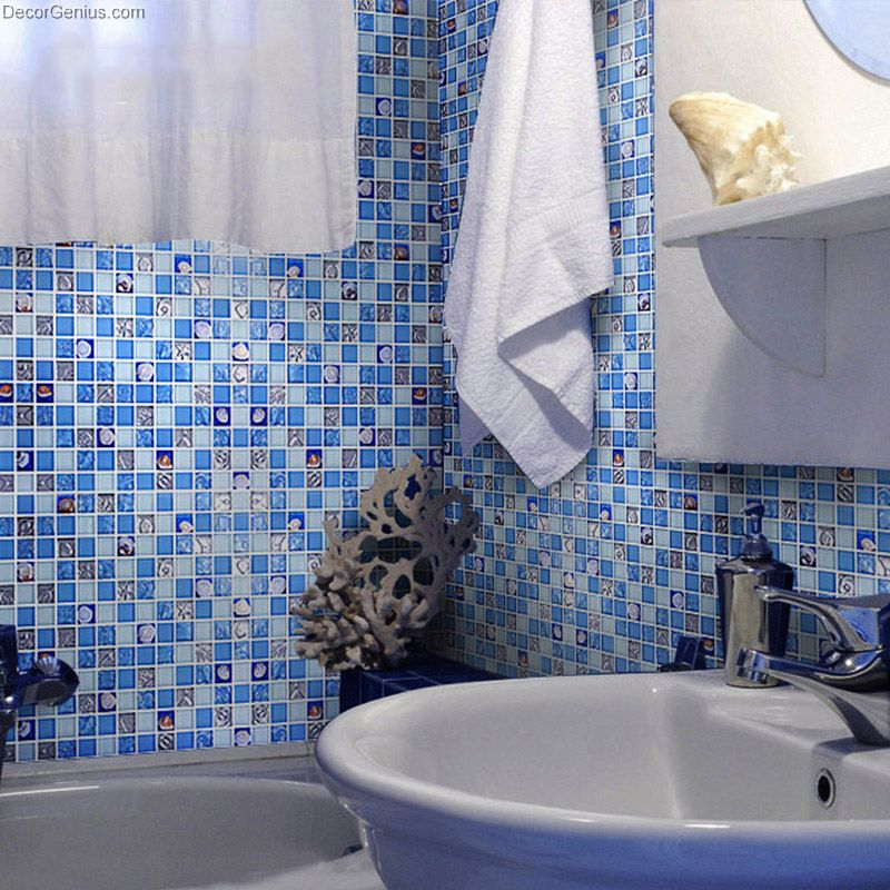Blue Ice Cracked Shell Mosaic Tile Home Floor Resin