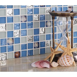 Blue Ice Cracked Shell Mosaic Tile Home Floor Resin Walltile  Natural Pearl kitchen Backsplash