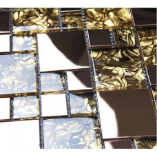 Amber Stainless Steel Glass Mosaic Backsplash Tiles