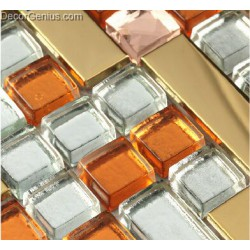 Orange Glass Metal Steel Mosaic Tile