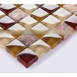 Stone Tiles Natural Handmade Glass Mosaic Paneling Wall Decoration