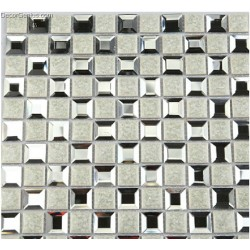 Silver Diamond Glass Mosaic Tile mixed Ceramic Mosaic Tiles Home Decoration