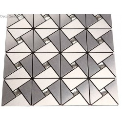 Silver White Steel Panels Mosaic Tiles Home Improvement Backsplash Aluminium Mosaic Wall Tile