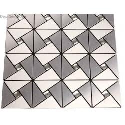 Silver White Steel Panels Mosaic Tiles Home Improvement Backsplash Aluminium Mosaic Wall Tile