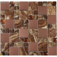 Faded Classic Kitchen Wall Metal Mosaic Tiles Mixed 13 Faced Diamond Glass Mosaic Tile