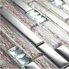 DecorGenius Veins Texture Glass Mosaic Tiles Mixed Silver Metel High Quality Cheap Mosaic Tile