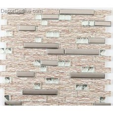 DecorGenius Veins Texture Glass Mosaic Tiles Mixed Silver Metel High Quality Cheap Mosaic Tile