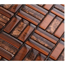 DGWH013 Brown Diamond Glass Mosaic Tiles Classic Home Decoration Building Materials