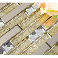 DGWH014 Light Yellow Diamond Metal Wall Mosaic Decor Tiles Cheap Wholesale Free Shipping Mosaic Tile