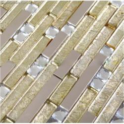 DGWH014 Light Yellow Diamond Metal Wall Mosaic Decor Tiles Cheap Wholesale Free Shipping Mosaic Tile