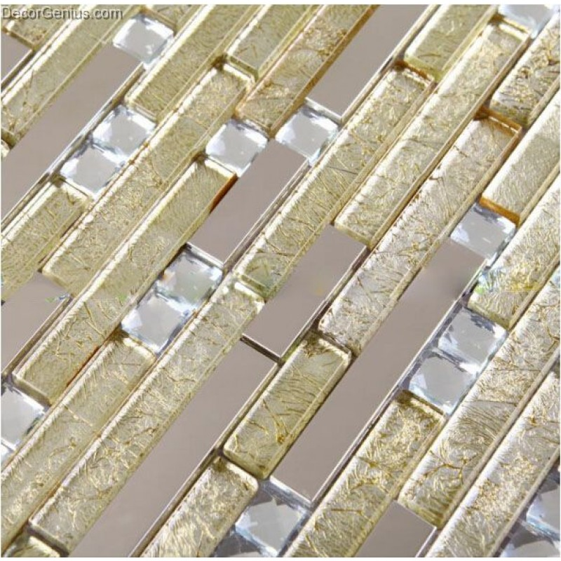 Dgwh014 Light Yellow Diamond Metal Wall Mosaic Decor Tiles