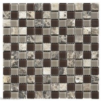 Blend Mixed Material Glass Mirror Mosaic Tile Modern Style Home Living Room Stone Wall Tiles