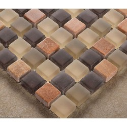 Bathroom Natural Stone Tile Mixed Glass Wall Decoration Mosaic Tiles Brown and Grey