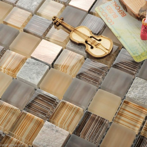 Stainless Steel Mixed Stone Bathroom Decorative Mosaic Tiles Glass Crystal Wall Panel Tile