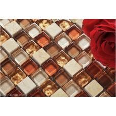Dark Red Building Mosaic Tiles Glass Mixed Stone Home Bathroom Floor Tile