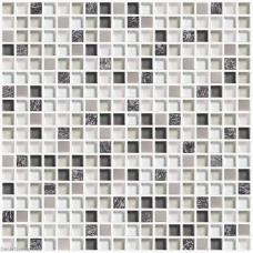 DecorGenius White and Black Kitchen Tile Glass and Metal Backsplash Tiles DGWH024