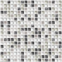 DecorGenius White and Black Kitchen Tile Glass and Metal Backsplash Tiles DGWH024