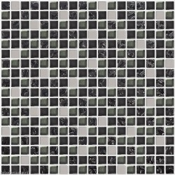 DecorGenius Nailed Pure Black Glass Mirror Tile DGWH025 Stainless Steel Metal 3D Floor Wall Mosaic Tiles
