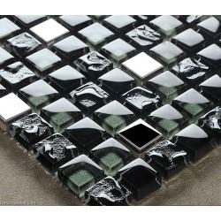 DecorGenius Nailed Pure Black Glass Mirror Tile DGWH025 Stainless Steel Metal 3D Floor Wall Mosaic Tiles