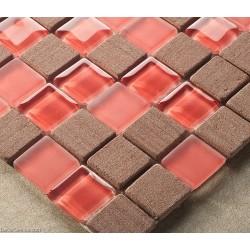 Red Floor Tiles Home Kitchen Backplash Brown Wall Tiles 3D Mirror Mosaic Tiles DGWH026