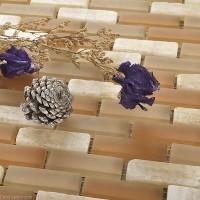 DecorGenius Strip Dark Khaki Mosaic Floor Tile Stone Bathroom Wall Tile Kitchen Panel Tiles