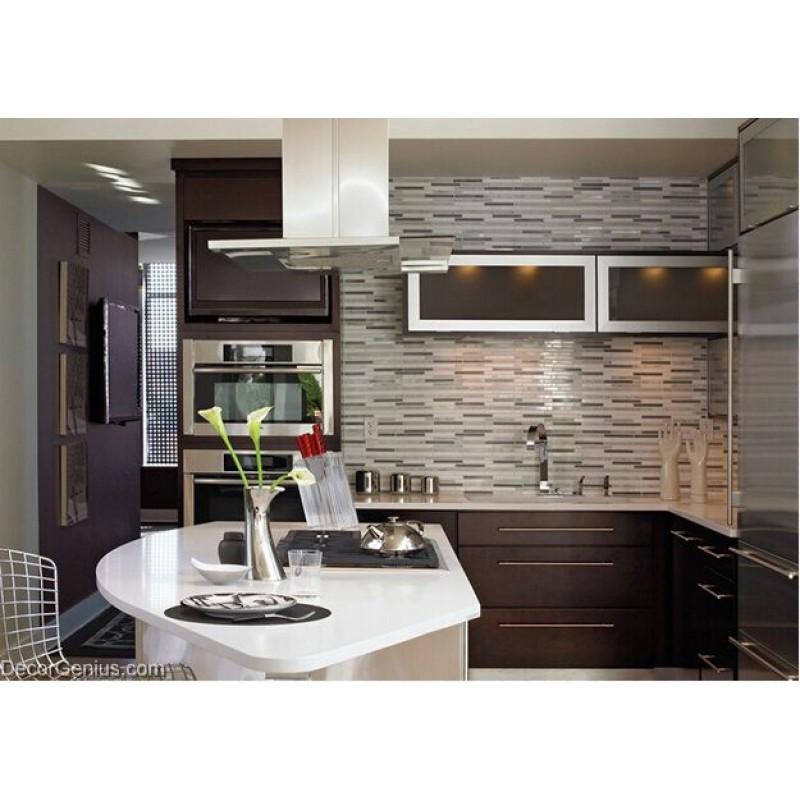 White Mixed Silver Wall Tile Home Kitchen Glass Backsplash ...