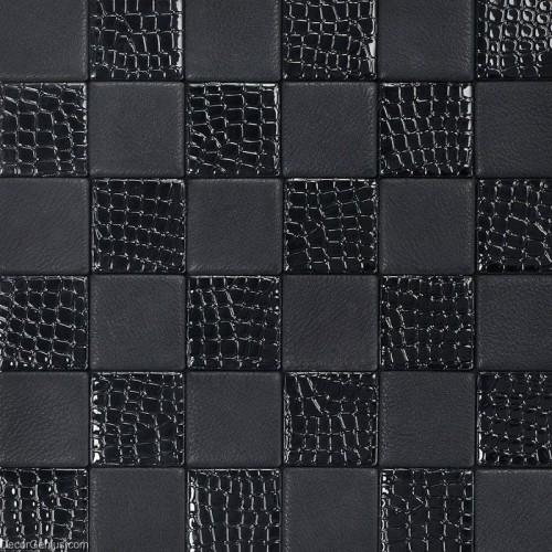 Living Room Black Leather Backsplash Tile High Quality Home Skin Pattern Mosaic Floor Tiles