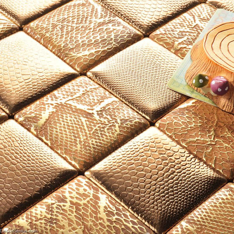 Decorgenius Gold Mosaic Floor Tile Home Living Room Leather