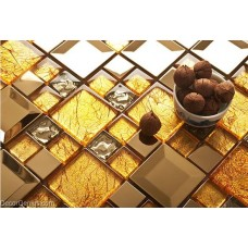 DecorGenius Dark Gold MIrror Crystal Mosaic Tile Counter Top Wall Floor Tiles